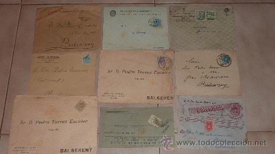 LOTE DE 60 SOBRES CIRCULADOS ALFONSINOS, CON SUS SELLOS CORRESPONDIENTES. ZONA MANRESA Y BARCELONA. (Sellos - Historia Postal - Sello Español - Sobres Circulados)