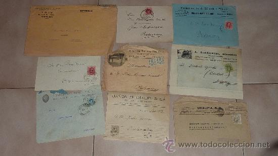 Sellos: Lote de 60 sobres circulados alfonsinos, con sus sellos correspondientes. Zona manresa y barcelona. - Foto 3 - 26508569