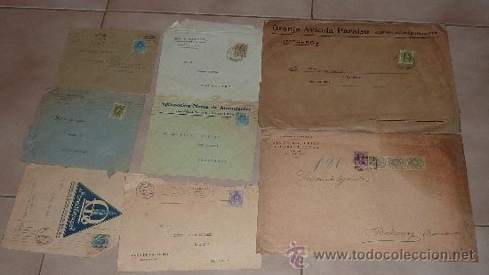 Sellos: Lote de 60 sobres circulados alfonsinos, con sus sellos correspondientes. Zona manresa y barcelona. - Foto 6 - 26508569