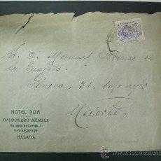 Sellos - SOBRE CIRCULADO CON PUBLICIDAD HOTEL NIZA MÁLAGA, ABRIL 1922 - 25825328