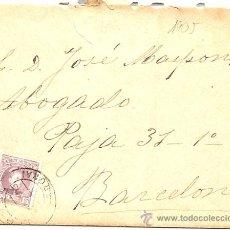 Sellos: AÑO 1905 - MATASELLOS POCO CLARO DE RIPOLL (GERONA) - DESTINO BARCELONA. Lote 24635635