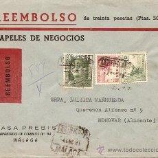 Sellos: REEMBOLSO AÑO 1951 - DE MÁLAGA A MONOVAR (ALICANTE) - CASA PREBIS DE MÁLAGA. Lote 24680312