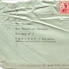 Sellos: AÑO 1930 - DE BARCELONA A MONOVAR (ALICANTE) - CON MATASELLO CLARO DE MONOVAR. Lote 24759400