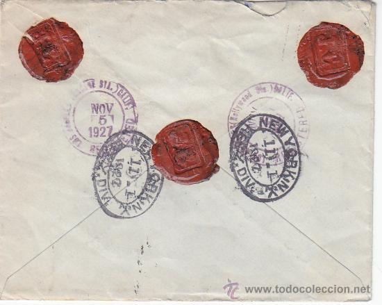 Sellos: ALFONSO XIII VAQUER BICOLOR EN CARTA CERTIFICADA 1927 DE MADRID A HOLLYWOOD (USA) TRANSITO Y LLEGADA - Foto 2 - 24944150