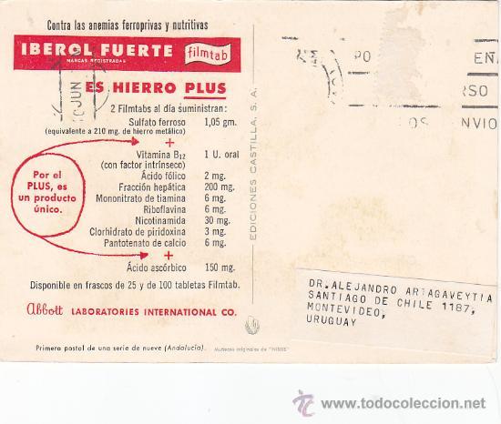 Sellos: ANDALUCIA: TRAJE TIPICO REGIONAL EN BONITA Y RARA TARJETA PUBLICIDAD IBEROL FUERTE. CIRCULADA. - Foto 2 - 25320602