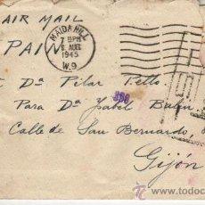 Sellos: 1945 SOBRE DIRIGIDO DE LONDRES A GIJON CON CENSURA Y VARIOS MATASELLOS ESPAÑOLES MAS. Lote 27013213