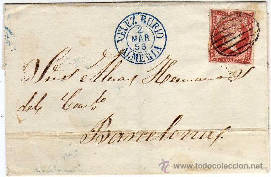 MAGNIFICA CARTA - MATASELLO - VELEZ RUBIO (ALMERIA) - 2 MAR 56 (1856) - Y PARRILLA SOBRE SELLO (Sellos - Historia Postal - Sello Español - Sobres Circulados)