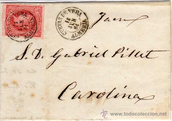 MAGNIFICA CARTA - MATASELLO - CUEVAS DE VERA (ALMERIA) 15 JUN 64 (1864) - SOBRE CARTA Y SOBRE SELLO (Sellos - Historia Postal - Sello Español - Sobres Circulados)