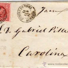 Sellos: MAGNIFICA CARTA - MATASELLO - CUEVAS DE VERA (ALMERIA) 15 JUN 64 (1864) - SOBRE CARTA Y SOBRE SELLO. Lote 26333815