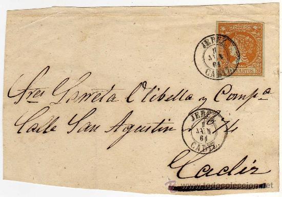 MAGNIFICO FRONTAL CARTA - MATASELLO JEREZ (CADIZ) 1 JUN 61 (1861) - SOBRE CARTA Y SOBRE SELLO (Sellos - Historia Postal - Sello Español - Sobres Circulados)
