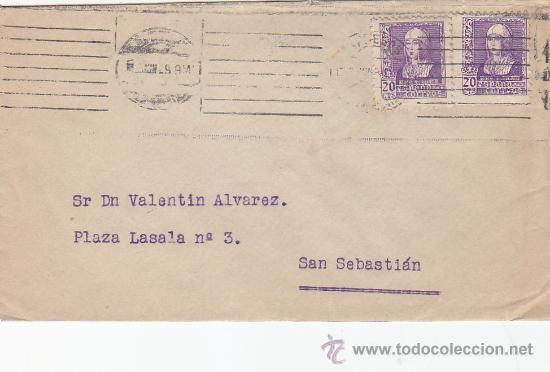 ISABEL LA CATOLICA (EDIFIL 855) CARTA CIRCULADA 1939 DE MADRID A SAN SEBASTIAN (GUIPUZCOA). CM. MPM (Sellos - Historia Postal - Sello Español - Sobres Circulados)