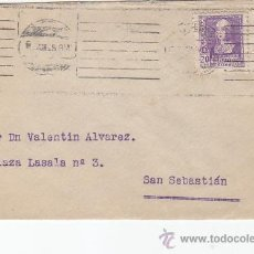 Sellos: ISABEL LA CATOLICA (EDIFIL 855) CARTA CIRCULADA 1939 DE MADRID A SAN SEBASTIAN (GUIPUZCOA). CM. MPM. Lote 26751559