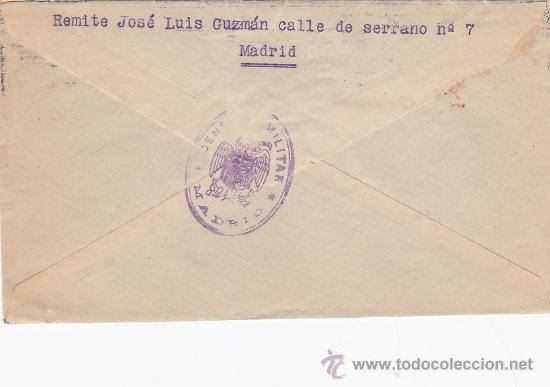 Sellos: ISABEL LA CATOLICA (EDIFIL 855) CARTA CIRCULADA 1939 DE MADRID A SAN SEBASTIAN (GUIPUZCOA). CM. MPM - Foto 2 - 26751559