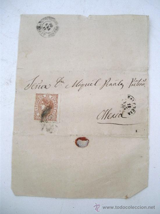 ENVOLTORIO DE CARTA CON SELLO ISABEL II, 1868 - MATASELLO VALENCIA (ENVOLTORIO INCOMPLETO) (Sellos - Historia Postal - Sello Español - Sobres Circulados)