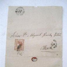 Sellos: ENVOLTORIO DE CARTA CON SELLO ISABEL II, 1868 - MATASELLO VALENCIA (ENVOLTORIO INCOMPLETO). Lote 27195797