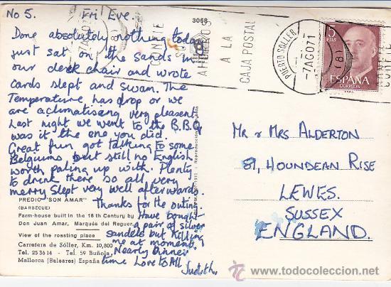 MATASELLOS RODILLO (CONFIE SUS AHORROS..) TARJETA 1971 DE PUERTO SOLLER (BALEARES) A INGLATERRA. MPM (Sellos - Historia Postal - Sello Español - Sobres Circulados)