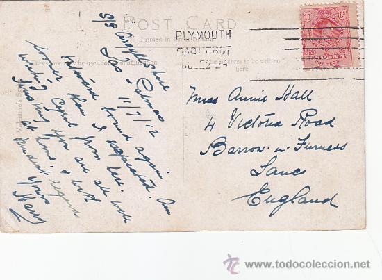PLYMOUTH PAQUEBOT: MATASELLOS EN TARJETA CIRCULADA EN 1912 DE LAS PALMAS (CANARIAS) A INGLATERRA. (Sellos - Historia Postal - Sello Español - Sobres Circulados)