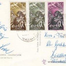 Sellos: ALZAMIENTO NACIONAL XX ANIVERSARIO 1956 (EDIFIL 1187/90) EN POSTAL CALARRATJADA (BALEARES). RARA ASI. Lote 27403936
