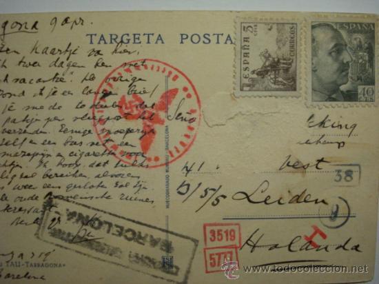 715 POSTAL TARRAGONA A HOLANDA CON CENSURA DE BARCELONA Y CENSURA ALEMANA (Sellos - Historia Postal - Sello Español - Sobres Circulados)