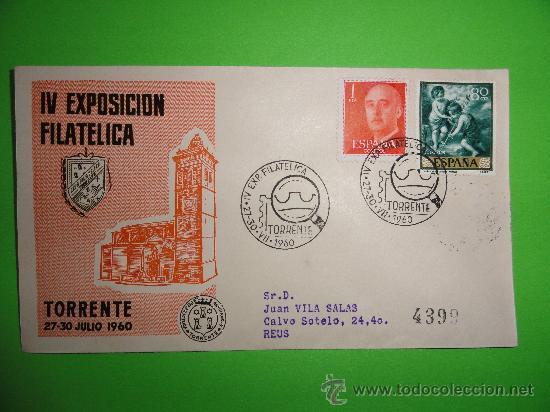 IV EXPOSICIÓN FILATÉLICA TORRENTE 1960 (Sellos - Historia Postal - Sello Español - Sobres Circulados)