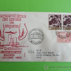 Sellos: 1 SOBRE ASAMBLEA DEL COMITÉ DE SEGUROS, MADRID, AÑO 1962. Lote 27837356