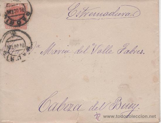 SOBRE CIRCULADO DESDE MADRID A CABEZA DEL BUEY. AÑO 1886 (Sellos - Historia Postal - Sello Español - Sobres Circulados)