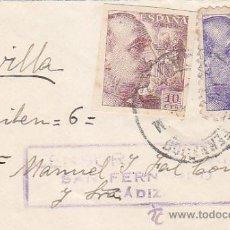 Sellos: PRO TUBERCULOSOS 1939 (GENERAL FRANCO SIN DENTAR) EN CARTA CIRCULADA SAN FERNANDO (CADIZ)-SEVILLA CM. Lote 28678797