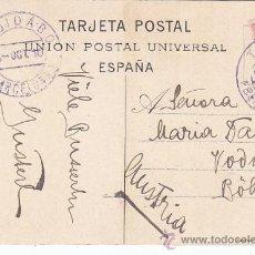 Sellos: RARO MATASELLOS TINTA VIOLETA TIBIDABO BARCELONA EN TARJETA POSTAL CIRCULADA 1910 A AUSTRIA.. Lote 30042955