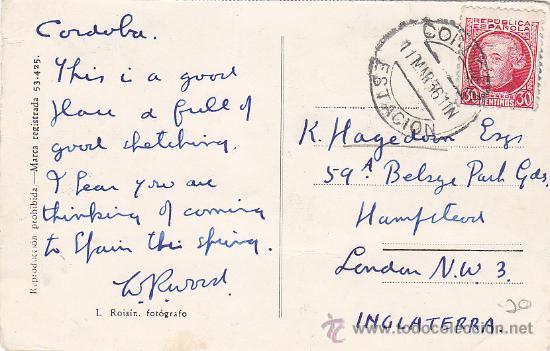 CORDOBA ESTACION: RARO MATASELLOS EN TARJETA CIRCULADA 1936 DE CORDOBA A INGLATERRA. (Sellos - Historia Postal - Sello Español - Sobres Circulados)