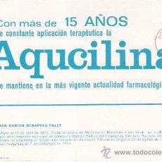 Sellos: MEDICINA DOCTOR JUAN R BENAPRES PALET BONITA RARA TARJETA CIRCULADA MADRID PUBLICIDAD AQUCILINA. MPM. Lote 30607179