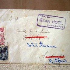 Sellos: SOBRE CIRCULADO CON CARTA, SANTANDER, Y CUÑO DE HOTEL IGNACIA, 1940. Lote 31226072