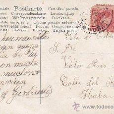 Sellos: BONITA TARJETA FLORES CIRCULADA EN 1909 DESDE LA PROVINCIA DE LA CORUÑA A LA HABANA (CUBA). MPM.. Lote 31233014