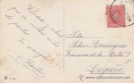 LA CASCADA: BONITA Y ANTIGUA POSTAL CIRCULADA EN 1909 A LOGROÑO FRANQUEADA CON ALFONSO XIII CADETE. (Sellos - Historia Postal - Sello Español - Sobres Circulados)