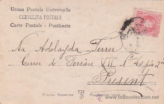 1906: BONITA Y ANTIGUA TARJETA POSTAL CIRCULADA DE BARCELONA A PRESENT. FRANQUEO ALFONSO XIII CADETE (Sellos - Historia Postal - Sello Español - Sobres Circulados)