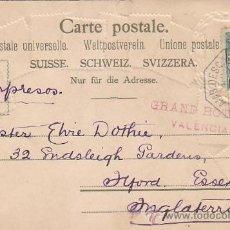 Selos: 1904 AMB DESC VALENCIA: MATASELLOS EN BONITA Y RARA POSTAL GRAND HOTEL (ROJO) VALENCIA A INGLATERRA.. Lote 31404313
