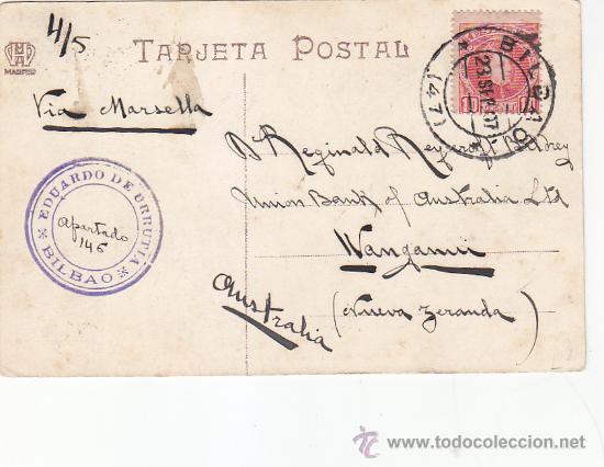 1907 BONITA Y RARA TARJETA POSTAL CLUB NAUTICO LAS ARENAS CIRCULADA BILBAO (VIZCAYA)-NUEVA ZELANDA. (Sellos - Historia Postal - Sello Español - Sobres Circulados)