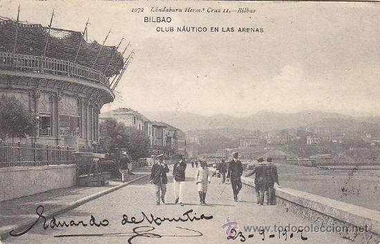 Sellos: 1907 BONITA Y RARA TARJETA POSTAL CLUB NAUTICO LAS ARENAS CIRCULADA BILBAO (VIZCAYA)-NUEVA ZELANDA. - Foto 2 - 31514672