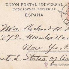 Sellos: 1906: TOLEDO PUENTE DE SAN MARTIN BONITA Y RARA TARJETA POSTAL CIRCULADA MADRID-NUEVA YORK.. Lote 31516286