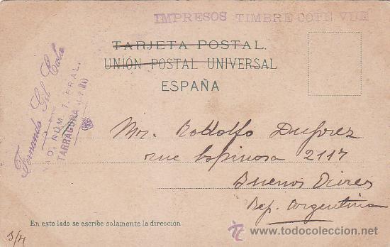 1912: TARRAGONA A BUENOS AIRES: BONITA TARJETA POSTAL DE SEVILLA. MARCA FERNANDO GIL CALA TARRAGONA (Sellos - Historia Postal - Sello Español - Sobres Circulados)