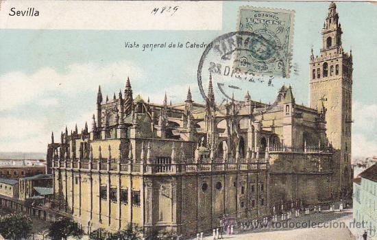 Sellos: 1912: TARRAGONA A BUENOS AIRES: BONITA TARJETA POSTAL DE SEVILLA. MARCA FERNANDO GIL CALA TARRAGONA - Foto 2 - 31516495