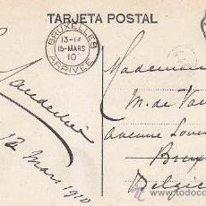 Sellos: AMBULANTE RARO MATASELLOS AMB ASC II 1 CADIZ EN TARJETA POSTAL CIRCULADA 1910 A BRUSELAS. LLEGADA.. Lote 31516798