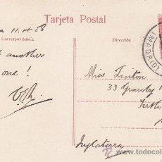 Sellos: 1908 CARTAGENA MURCIA PABELLON DEL CASINO. POSTAL CIRCULADA ESTAFETA CAMBIO DE MADRID A INGLATERRA.. Lote 31517527
