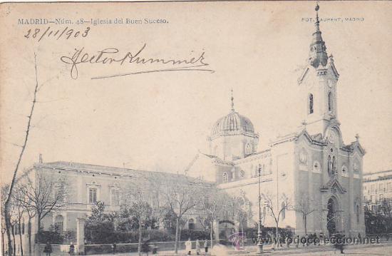 Sellos: 1903: IGLESIA DEL BUEN SUCESO MADRID: 48 LAURENT: BONITA TARJETA POSTAL CIRCULADA A MARSELLA FRANCIA - Foto 2 - 31530238