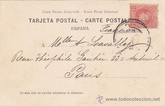 1903: CONGRESO DIPUTADOS MADRID: 6 TODO MADRID CANOVAS: BONITA POSTAL CIRCULADA DE MADRID A PARIS. (Sellos - Historia Postal - Sello Español - Sobres Circulados)