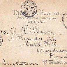 Sellos: 1903: EL PUERTO DE BARCELONA: BONITA TARJETA POSTAL Nº 98 HAUSER Y MENET CIRCULADA A LONDRES LLEGADA. Lote 31557586