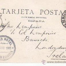 Sellos: 1905: MARCA GRAND HOTEL PALMA DE MALLORCA BALEARES TARJETA POSTAL LACOSTE SANTA CATALINA A IRLANDA. Lote 31557922