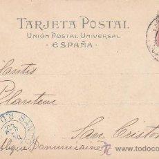 Sellos: CIRCA 1900: CALLE DE CORTES (DERECHA) EN BARCELONA: POSTAL CIRCULADA A REPUBLICA DOMINICANA. LLEGADA. Lote 31567565