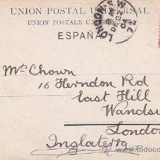 Sellos: 1904: RAMBLA DE CATALUÑA EN BARCELONA: BONITA TARJETA POSTAL 7006 CIRCULADA A LONDRES. LLEGADA.. Lote 31567686