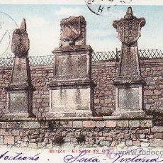 Sellos: 1909 BURGOS EL SOLAR DE EL CID BONITA Y RARA TARJETA POSTAL CIRCULADA A FRANCIA. LLEGADA.. Lote 31588572