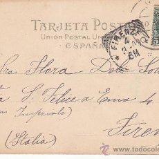 Sellos: 1903: ARCO DE SANTA MARIA EN BURGOS: BONITA Y MUY RARA TARJETA POSTAL CIRCULADA A ITALIA. LLEGADA.. Lote 31588826